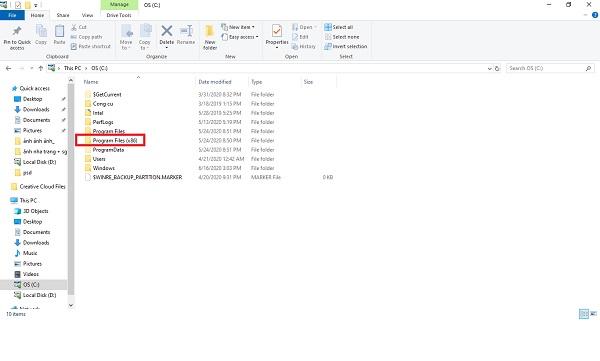 Nhấp chuột vào file rồi tìm kiếm thư mục của chương trình đang hiển thị lỗi