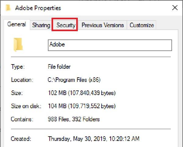 Sau khi chọn Properties -> chọn Security