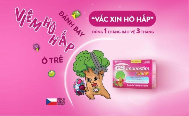 GS Imunostim Junior là thực phẩm chức năng giúp bảo vệ đường hô hấp ở trẻ